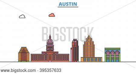 United States, Austin Line Cityscape, Flat Vector. Travel City Landmark, Oultine Illustration, Line