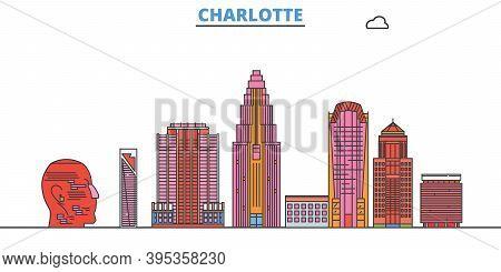 United States, Charlotte Line Cityscape, Flat Vector. Travel City Landmark, Oultine Illustration, Li