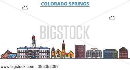 United States, Colorado Springs Line Cityscape, Flat Vector. Travel City Landmark, Oultine Illustrat