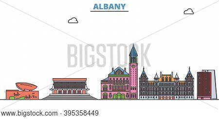 United States, Albany Line Cityscape, Flat Vector. Travel City Landmark, Oultine Illustration, Line