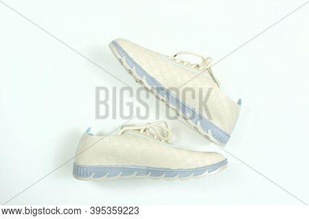 Women's Light Beige Blue Sport Shoes . Concept Run.  Female Fashion. Trendy Shoes. Sports Sneakers,
