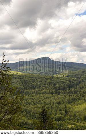 Panoramic View At Polud Mountain From Vetlan Rock Cliff Stone Krasnovishersk, Perm Region, Russia. U