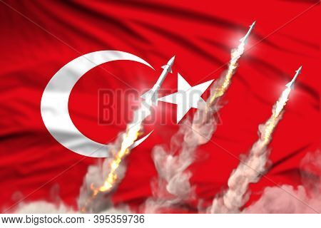 Modern Strategic Rocket Forces Concept On Flag Fabric Background, Turkey Nuclear Missile Attack - Mi