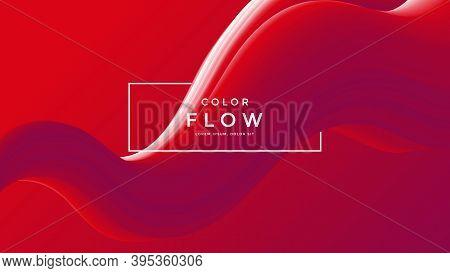 Red Fluid Wave Background. Duotone Gradient Shape