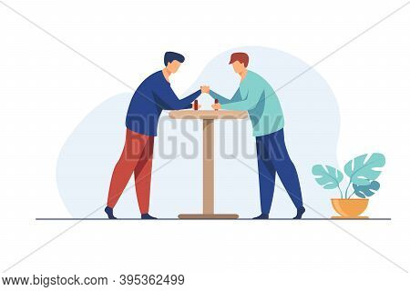 Two Men Competing In Arm Wrestling. Fighters Trying Strength Against Each Other Flat Vector Illustra