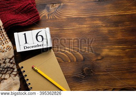 Sixteenth Day Of Winter Month Calendar December With Copy Space.