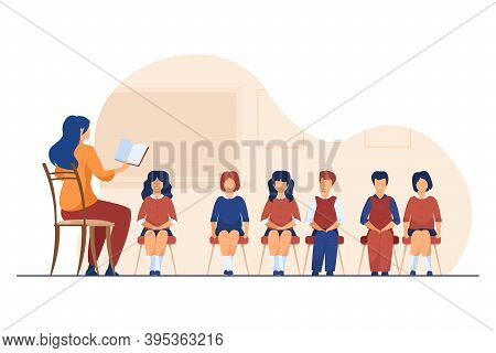 Singing Coach Teaching Group Of Children. Music Teacher, Choir Of Kids In Classroom Flat Vector Illu