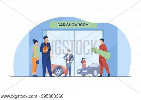 People Choosing And Buying Automobile. Car Showroom, Customer, Seller Flat Vector Illustration. Vehi