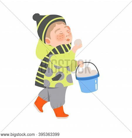 Freckled Boy In Warm Winter Clothing Carrying Bucket With Snowballs Vector Illustration