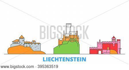 Liechtenstein Line Cityscape, Flat Vector. Travel City Landmark, Oultine Illustration, Line World Ic