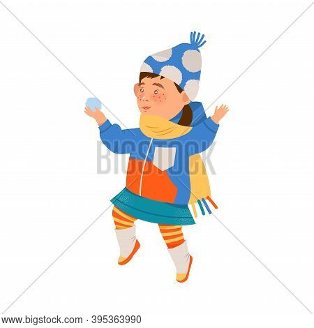 Freckled Girl In Warm Winter Clothing Playing Snowball Fight Vector Illustration