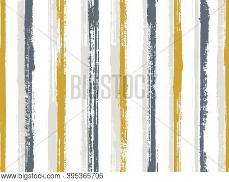 Pain Handdrawn Irregular Stripes Vector Seamless Pattern. Doodle Candy Wrap  Sweet Design. Grainy Ge
