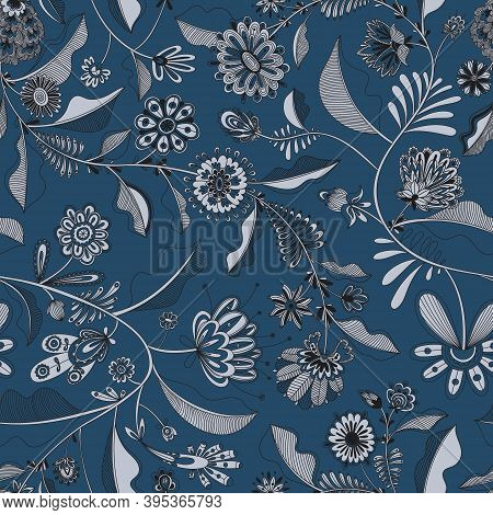 Color Seamless Decorative Pattern With Flowers And Butterflies With Many Small Elements. Complex Han