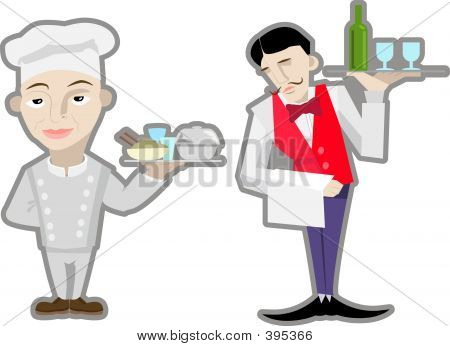 A Vector Waiter And Chef.