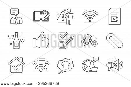 Correct Answer, Wifi And T-shirt Line Icons Set. Checkbox, Engineering Documentation And Sale Megaph