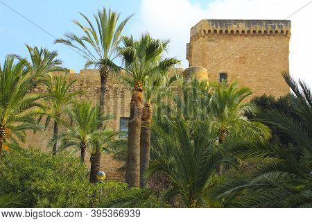 Elche, Alicante, Spain- November 18, 2020:altamira Palace Surrounded By Palm Trees And Vegetation In