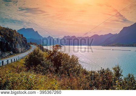View At The Fjord. Rocky Beach. Beautiful Nature Norway. Lofoten Islands. The Road Along The Fjord