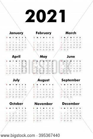 Vector Calendar On 2020 Year. Week Starts Sunday. Stationery Calender Template In Minimal Design. Ye