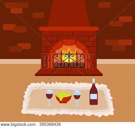 Romantic Evening At Home. Two Glasses Of Wine, A Bottle Of Wine And Grapes On The Carpet By The Fire