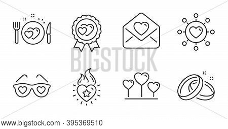 Love Glasses, Romantic Dinner And Heart Flame Line Icons Set. Wedding Rings, Love Award And Dating N