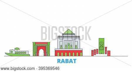 Morocco, Rabat Line Cityscape, Flat Vector. Travel City Landmark, Oultine Illustration, Line World I