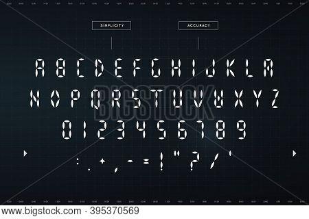 Digital Awesome Symbols Set. Futuristic Style Alphabet. Font For Hud Or Digital Display. Vector Typo