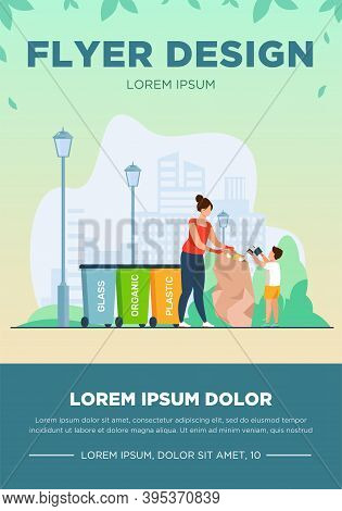 Woman And Kid Sorting Garbage. People Holding Trash Bag Near Different Bins Flat Vector Illustration