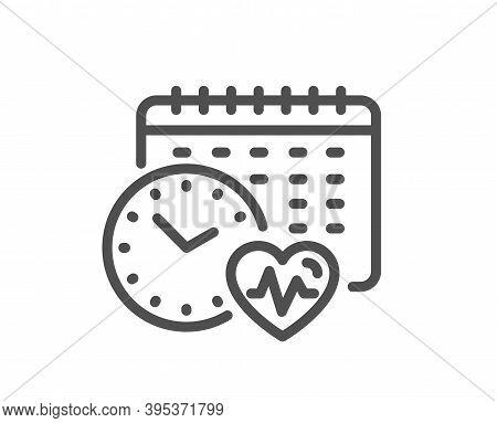 Cardio Training Calendar Line Icon. Fat Burning Time Sign. Gym Fit Heartbeat Symbol. Quality Design
