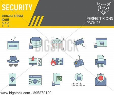 Security Color Line Icon Set, Network Protection Collection, Vector Sketches, Logo Illustrations, Se