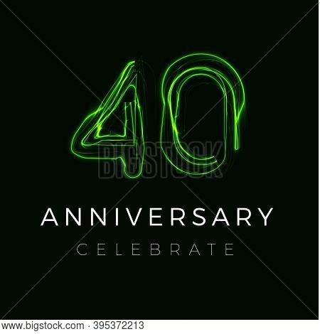 Forty Anniversary Poster For Party. 40th Years Sign. Fortieth Birthday Celebrate. Discount Forty Per
