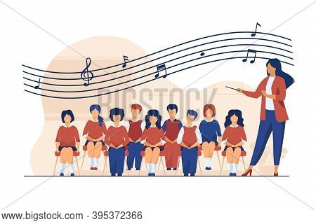 Music Lesson At School. Conductor With Baton Standing Choir Of Singing Kids Flat Vector Illustration
