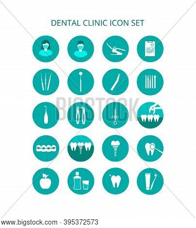 Dental Clinic Icon Set. Vector Icons Of Dental Clinic Services. Tools For Examination, Treatment And