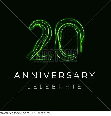 Twenty Anniversary Poster For Party. 20th Years Sign. Twentieth Birthday Celebrate.discount Twenty P