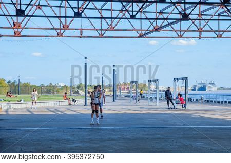 New Orleans, La - November 14: People Engaging In Recreational Activities On A Sunny Day In Crescent
