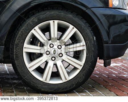 Grodno, Belarus, December 2012: Land Rover Range Rover Sport V8 Supercharged Side View Car Wheel Wit