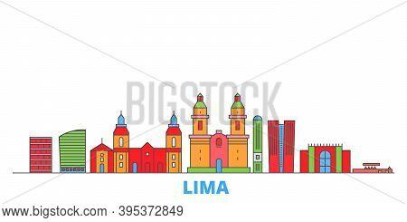 Peru, Lima Line Cityscape, Flat Vector. Travel City Landmark, Oultine Illustration, Line World Icons