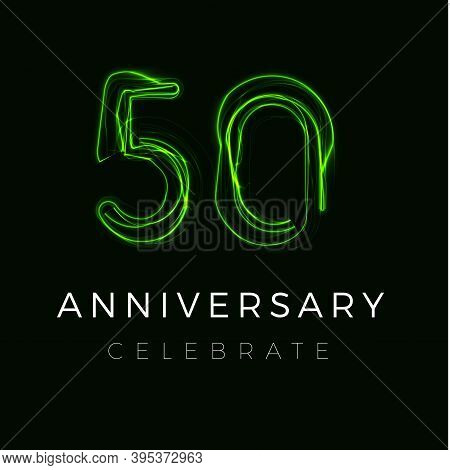 Fifty Anniversary Poster For Party. 50th Years Sign. Fiftieth Birthday Celebrate. Discount Fifty Per
