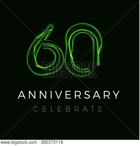 Sixty Anniversary Poster For Party. 60th Years Sign. Sixtieth Birthday Celebrate. Discount Sixty Per
