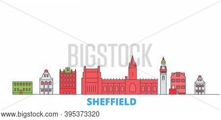United Kingdom, Sheffield Line Cityscape, Flat Vector. Travel City Landmark, Oultine Illustration, L