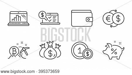 Bitcoin Mining, Graph Laptop And Usd Coins Line Icons Set. Loan Percent, Money Exchange And Online A