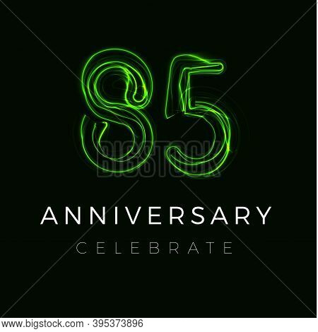 Eighty Five Anniversary Poster For Party. 85th Years Sign. Eighty-fifth Birthday Celebrate. Vector I