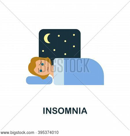 Insomnia Icon. Simple Element From Health Diseases Collection. Creative Insomnia Icon For Web Design