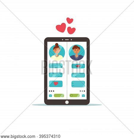 Tablet Dating Chat Site. Virtual Love On A Tablet Through A Dating Site. Vector Flat Illustration