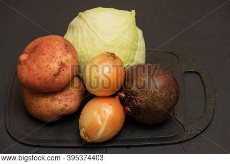 Ingredients For Borscht, Beetroot Soup, Beet Soup Onions, Beets. Harvest Vegetables. Vegetarianism