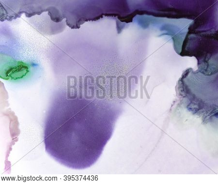 Ethereal Water Texture. Alcohol Ink Wash Background. Mauve Abstract Stains Splash. Contemporary Flow