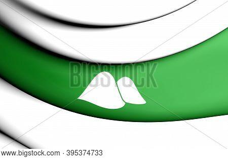 3d Flag Of Kurgan Oblast, Russia. 3d Illustration.