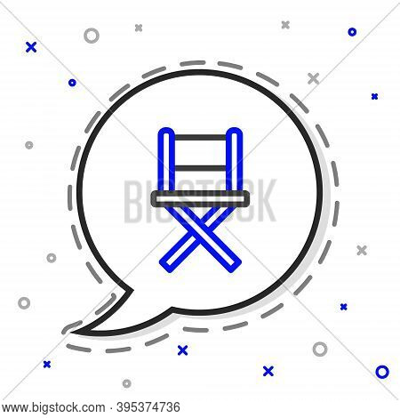 Line Director Movie Chair Icon Isolated On White Background. Film Industry. Colorful Outline Concept