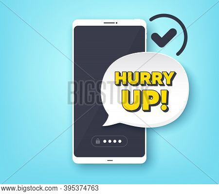 Hurry Up Sale. Mobile Phone With Alert Notification Message. Special Offer Sign. Advertising Discoun