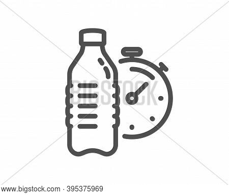 Fitness Water Line Icon. Training Drink Time Sign. Gym Fit Bottle Symbol. Quality Design Element. Li