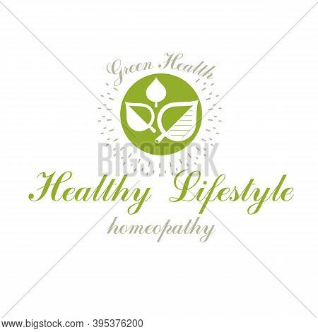 Green Spring Leaves Vector Symbol For Use In Holistic Medicine, Rehabilitation Or Pharmacology. Well